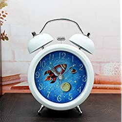 Brandream Kids Cartoon Small Double Bell Alarm Clock Metal Alarm Clocks,Space and Rockets