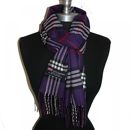 Purple_(US Seller)New Fashion Scarf Scotland Made Warm Wool - A91 (Clutch Cristal)