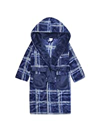 Boys Warm Winter Check Design Fleece Dressing Gown