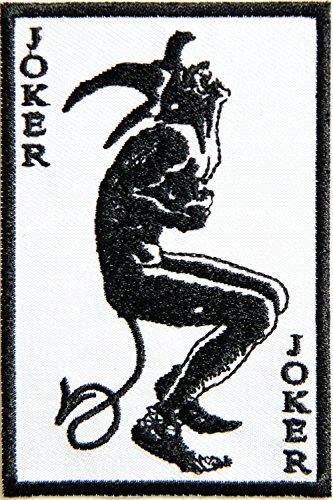 Joker Zombie Devil Card Hog Outlaw Logo Halloween Lady Biker Rider Punk Rock Tatoo Jacket T-shirt Patch Sew Iron on Embroidered Sign Badge Costume ()