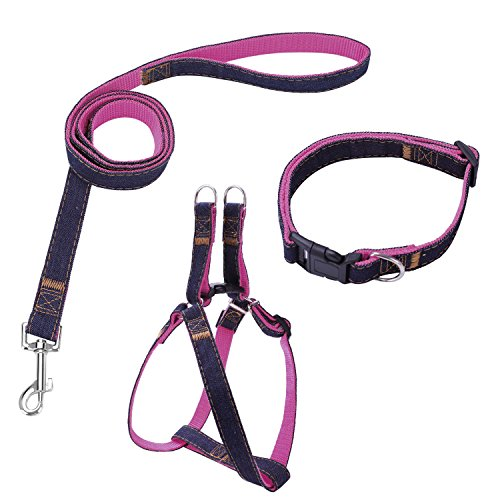 Bark Lover Pet Denim Dog Collar Leash Harness & Traction Rope Leash for Training Walking Running. (XL, Pink)