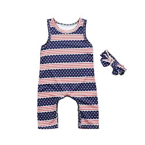 Winsummer 4th of July Romper Toddler Baby Girl American Flag Stars Stripes Bodysuit Jumpsuit Outfits with Headband RTS Pants Outfits (Red, (Jump Usa Star)