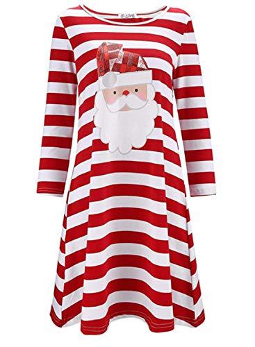 LANROON Women's Shirt Dress for Fall,Flatter Santa Claus Print Curved Hem Tunic,Red White L -