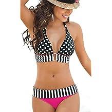 Efanr Women's Polka Dots Padded Bra Bikini Set Striped Halterneck Swimwear