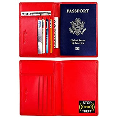 Travelambo RFID Blocking Genuine Leather Passport Holder Wallet Cover Case (red)