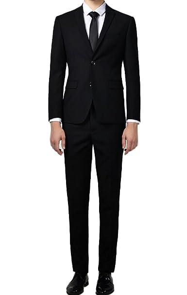 Amazon.com: botong Classic Slim Fit los hombres negros ...