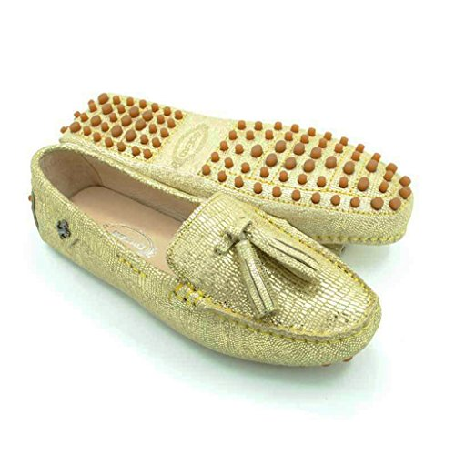 Meijili Women's Casual Loafer Flats Driving Moccasin Work Tassels Peas Shoes Gold1 BnMH0Dj