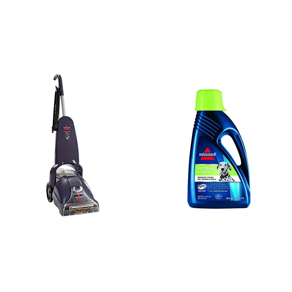 Pet Stain Remover Bundle - PowerLifter PowerBrush + Bissell 2X Pet Stain Odor Full Size Machine Formula, 60 oz by Bissell