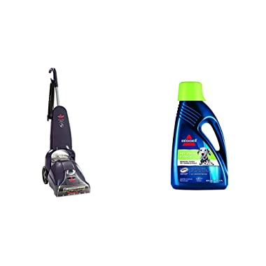 Pet Stain Remover Bundle - PowerLifter PowerBrush + Bissell 2X Pet Stain Odor Full Size Machine Formula, 60 oz