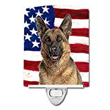 Caroline's Treasures USA American Flag with German Shepherd Night Light, 6'' x 4'', Multicolor