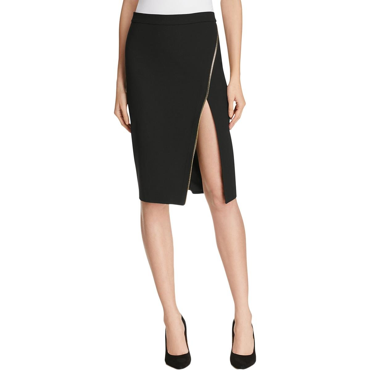 Mason by Michelle Mason Womens Zipper Textured Straight Skirt Black 4
