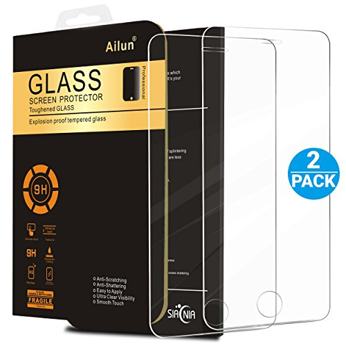 iPhone 5S Screen Protector,iPhone SE Screen Protector,[2 Packs]by Ailun,2.5D Edge Tempered Glass for iPhone 5/5S/5C/SE,Anti-Fingerprint,Oil Stain&Scratch Coating,Case Friendly-Siania Retail Package