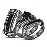 His/Her Trio Ring Set Round Black CZ Stone Studded 14K Black Gold Fn Alloy Anniversary Wedding Fashion Jewellery