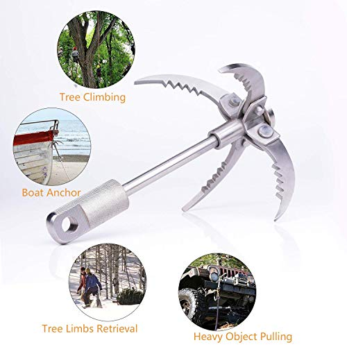 Berufexp Grappling Hook Folding 4 Claws Stainless Steel Grapple Hook for Survival Climbing Tree Limbs Pulling Grappling Hook for Magnet Fishing Camping Hiking Outdoor Survival Gear