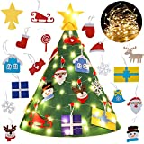 Legendog 3D DIY Felt Christmas Tree Set with 18Pcs XmasHanging Ornaments and LED String Lights, XmasGifts for Kids New Year Christmas Decorations Toddlers Gifts