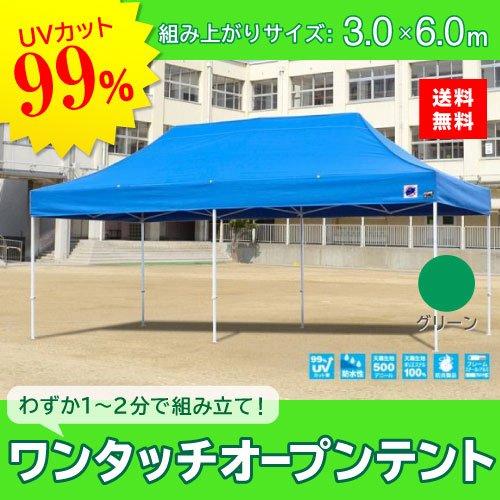 E-ZUP イージーアップ イージーアップテント 組み立てテント デラックス(スチールタイプ) [DX60-17GR] 3.0m×6.0m 天幕色:緑 グリーン 防水 防炎 紫外線カット99% B07BTB1L43