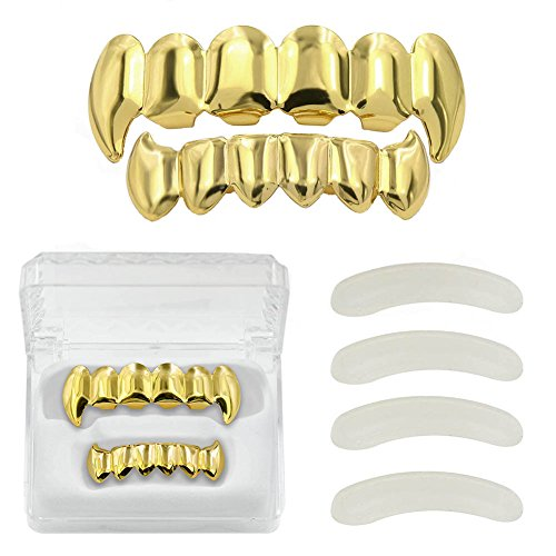 - TOPGRILLZ Hip Hop 14K Gold Plated Vampire Fangs Top and Bottom Grillz for Your Teeth with 4 Silicon Molding Bars (2 Extra)
