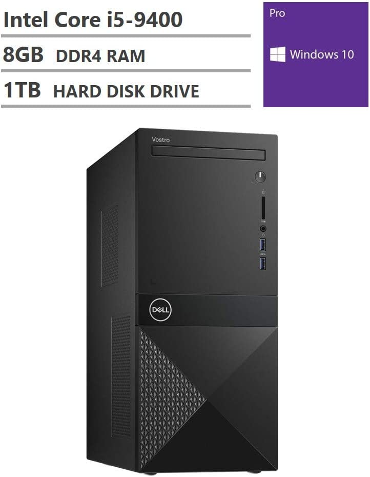 2020 Newest Dell Vostro 3000 Tower Business Desktop, Intel Core i5-9400 Six-Core Processor up to 4.10GHz, 8GB RAM, 1TB Hard Disk Drive, HDMI, VGA, DVD-RW, Wi-Fi, Bluetooth, Windows 10 Pro, Black
