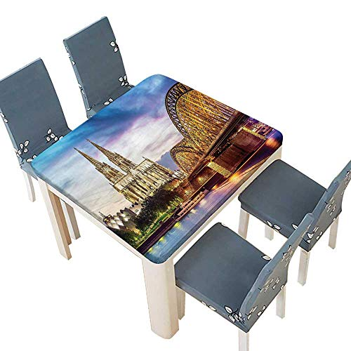 PINAFORE Indoor/Outdoor Spillproof Tablecloth Decor Illuminated Dom in Cologne Old Bridge Rhine at Sunset European Culture Wedding Restaurant Party Decoration 61 x 61 INCH (Elastic ()