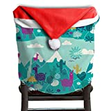 Llama Animal Christmas Chair Covers Modern Design Red Santa Hat Chair Covers For Boyfriends Dinner Chair Covers Holiday Festive