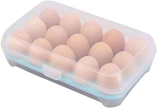 Mmrm - Estuche para huevos (plástico, 15 celdas), color azul: Amazon.es: Hogar