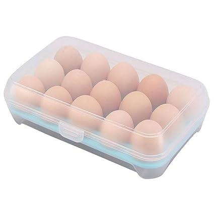 Mmrm - Estuche para huevos (plástico, 15 celdas), color azul ...