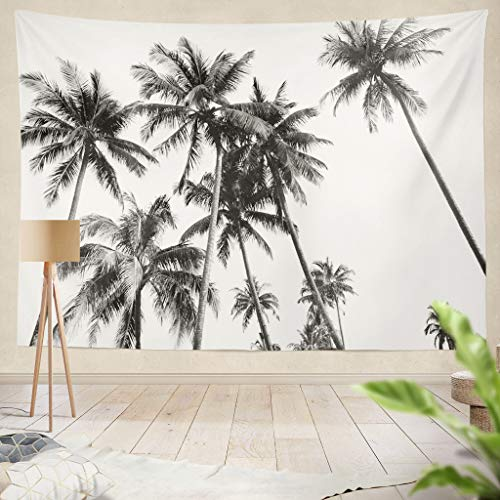 threetothree Ethnic Psychedelic Tapestry Wall Hanging Black and White Silhouettes Tropical Coconut Palm Trees White PalmLiving Room Bedroom Art Nature Home Decorations 60