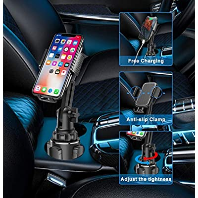 Car Cup Holder Phone Mount Universal Adjustable Cup Phone Holder for Car with 6 Extender Pads for Cell Phones iPhone 11 Pro/XR/XS Max/X/SE/8/7 Plus/6s/Samsung S10 /Note 9/S8 Plus/S7 Edge(Short)
