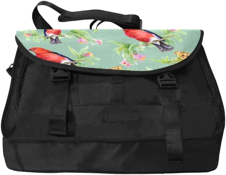Crossbody Travel Bag Beautiful Flowers and Colorful Birds Multi-Functional Laptop Briefcase Bag Fit for 15 Inch Computer Notebook MacBook