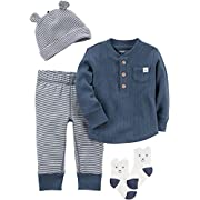 Carter's Baby Boys' 4 Piece Striped Take Me Home Set 3 Months