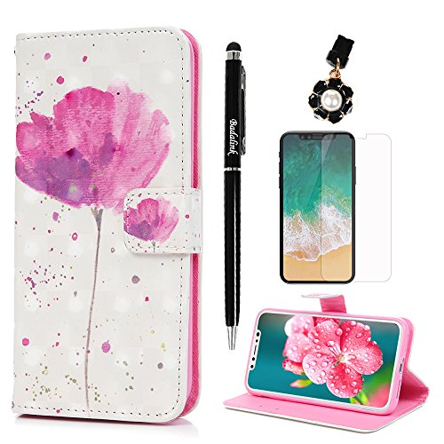 Badalink Iphone X Wallet Case  With Dust Plug   Stylus   Screen Protector Magnetic Flip Folio Pu Leather Cover Stand Feature Painting Bumper Shockproof Tpu Interior Shell For Iphone X   Lotus