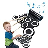 Wasanstore Roll Up Electronic Drum Portable Pad Kit with Speaker Entertainment Kids Gift Children's Day Christmas Present