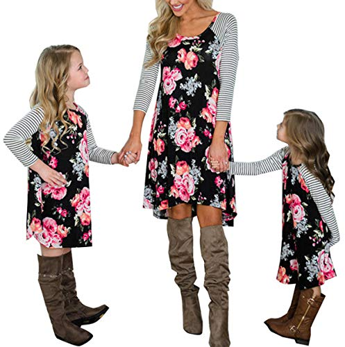 doublebabyjoy, Family Matching Flower Print O-Neck Long Sleeve Short Dress Mommy and Me One Piece Spring Fall Dress (Daughter/2-3 Years), Floral