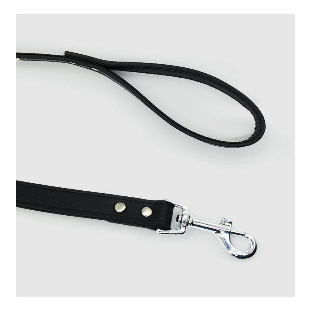 Nuheby Leather Dog Leash 3.5 Feet Long Puppy Training Leash Perfect for Medium Small Dogs (Black)