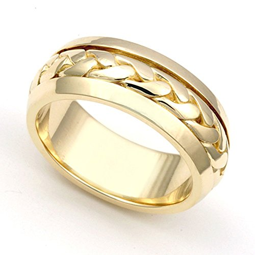18k Yellow Gold 6.5mm Hand Braided Wedding Band Ring, (Hand Braided Wedding Band)
