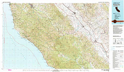 YellowMaps Point Sur CA topo map, 1:100000 Scale, 30 X 60 Minute, Historical, 1982, Updated 1982, 24 x 41.3 in - ()