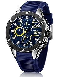 MEGIR Mens Sports Waterproof Wrist Watch, Quartz Analog Military Chronograph Wristwatches with Silicone Band,Fashion...