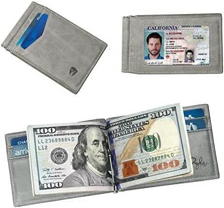 Minimalist Front Pocket Wallet RFID Blocking Genuine Leather Mens Slim Bifold Wallet with Money Clip, ID Holder, 7 Slots, Secure Credit Card Holder, Identity Theft and Credit Card Protection