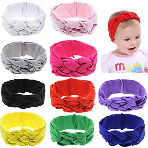 inSowni 10 Pack Solid Stretchy Celtic Knotted Turban Headbands Hairbands Headwraps for Baby Girls Toddlers Infants Kids