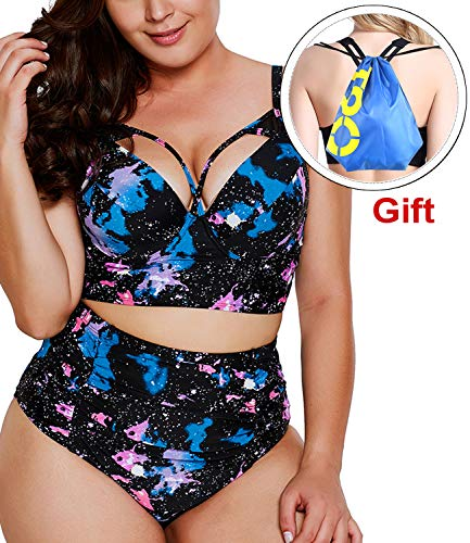 (Women's Two Piece Plus Size Swimsuit Bikini Set High Waist Halter Bottom with Top Swimwear Bathing Suit Athletic Tankini (X-Large(fits Like US 14-16), E- Galaxy Nebula Fish))