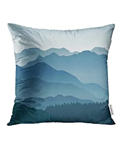 Emvency Decorative Throw Pillow Case Cushion Cover Appalachian Blue Mountains in The Fog Layers Smoky Abstract Silhouette Tree Panorama 16x16 Inch Cases Square Pillowcases Covers Two Sides Print