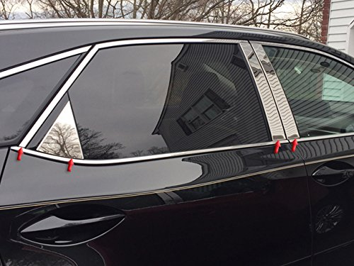 PP18199 QAA FITS RX350-L 2018-2019 Lexus 8 Pc: Stainless Steel Pillar Post Trim Kit w//Rear Triangle, 4-Door, L-Model ONLY
