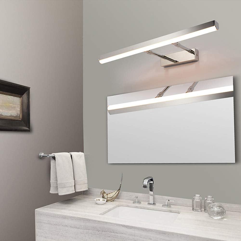 12W Aplique espejo L/ámpara de pared Con Met/álico El hierro Acr/ílico Impermeable Apliques de pared Simple Moderno-60cm Luz neutra VinDeng Negro LED L/ámpara espejo Para Cuarto de ba/ño