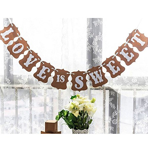(SooKoo Love is Sweet Classical Vintage Bridal Shower Wedding Decoration Bunting Banner)