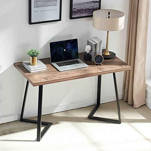UnaFurni Rustic Computer Desk, Vintage Industrial Simple Writing Desk, Metal and Wood Study Table for Home Office Multipurpose Workstation, 47 inch (Rustic Desk Small)