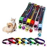 Fitfirst 6 Pcs Collares de Perros de Nylon con Bell para Gatos y Perros Pequeños, Cuerda del Cuello del Cordón Tela Azul, Rojo, Violeta, Verde, Amarillo y Rosa