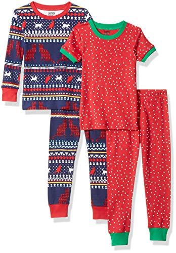 Spotted Zebra Little Kids' 4-Piece Snug-Fit Cotton Pajama Set, Cat Fairisle, Small (6-7)