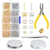 KUUQA Jewelry Making Kit Silver and Gold Lobster Clasps Open Jump Rings and Pin Jewelry Findings Kit with Pliers