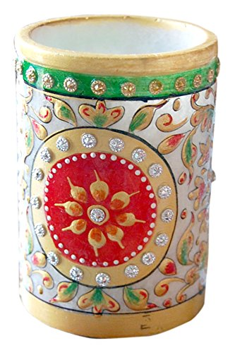 ALABASTER MARBLE Marble Pen Stand Decorative Handicraft (1 (Alabaster Painting)