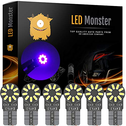LED Monster 6-Pack Purple 18-SMD LED Light Bulb for License Plate Interior Map Dome Side Marker Light 194 168 2825 175 192 W5W T10 Wedge Super Bright High Power 3016